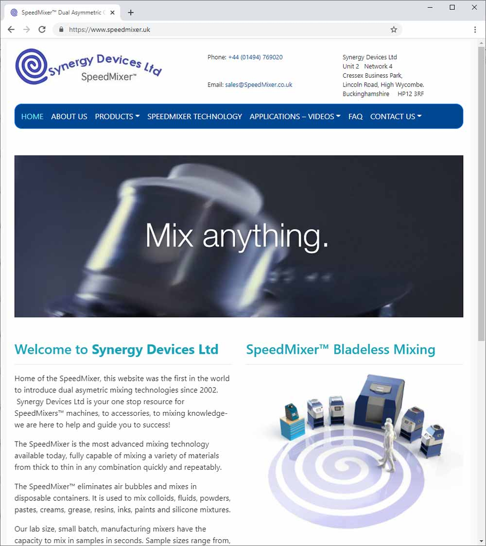 Updated SpeedMixer.UK web site.